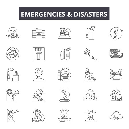 Emergincies and disasters line icons, signs set, vector. Emergincies and disasters outline concept illustration: disaster,danger,emergency,water,fire