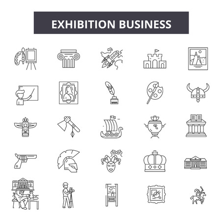 Exhibition business line icons, signs set, vector. Exhibition business outline concept illustration: exhibition,business,presentation,decommercial,marketing