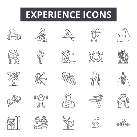 Experience line icons, signs set, vector. Experience outline concept illustration: experience,business,service,customer,review,rating,feedback