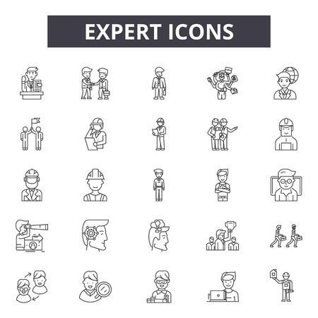 Expert line icons, signs set, vector. Expert outline concept illustration: expert,business,management,human,concept,idea,outline
