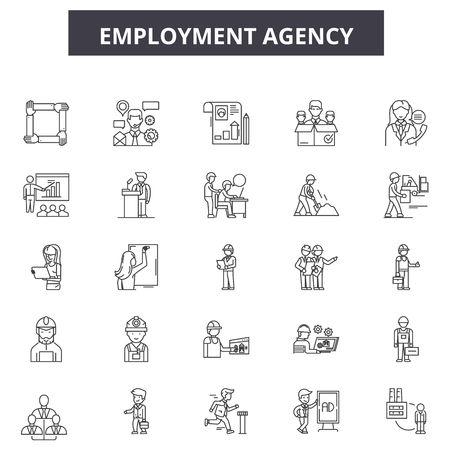 Employment agency line icons, signs set, vector. Employment agency outline concept illustration: employment,job,agency,human,business,employee,people,manager,management Illustration