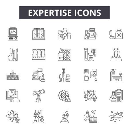 Expertise line icons, signs set, vector. Expertise outline concept illustration: expertise,business,gear,development,creativity,innovation Illustration