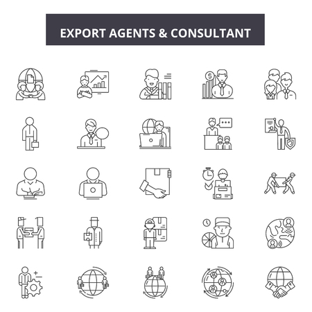 Export agents line icons, signs set, vector. Export agents outline concept illustration: export,agent,transportation,cargo,transport,shipping,delivery,international 向量圖像