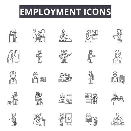Employment line icons, signs set, vector. Employment outline concept illustration: employment,job,business,recruitment,people,management,contract