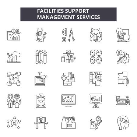 Einrichtungen unterstützen Liniensymbole, Zeichensatz, Vektor. Abbildung des Konzepts zur Unterstützung der Unterstützung: Unterstützung, Konzept, Mängel Vektorgrafik