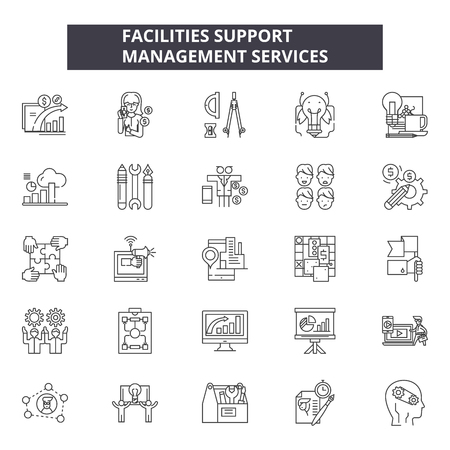 Faciliteiten ondersteunen lijn pictogrammen, borden set, vector. Faciliteiten ondersteuning schets concept illustratie: ondersteuning, concept, defaciliteit Vector Illustratie