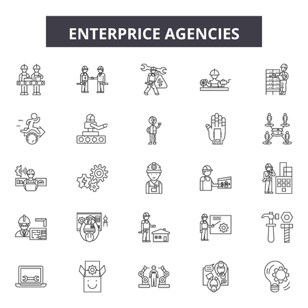 Enterprice agency line icons, signs set, vector. Enterprice agency outline concept illustration: business,enterprise,organization,agency,internet,corporate,recruitment 向量圖像