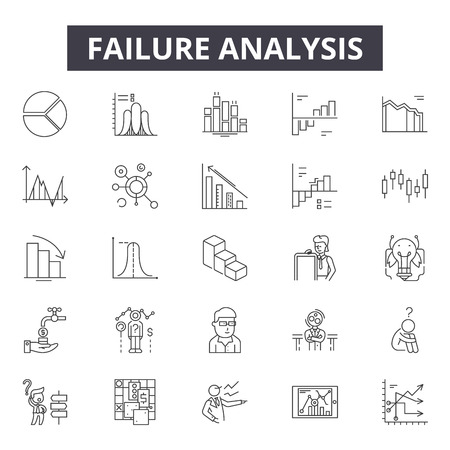 Failure analysis line icons, signs set, vector. Failure analysis outline concept illustration: analysis,business,failure,graph,down,data,financial,chart,symbol  イラスト・ベクター素材