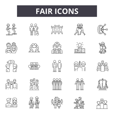 Fair line icons, signs set, vector. Fair outline concept illustration: fair,concept,business,silhouette,black Standard-Bild - 120895600