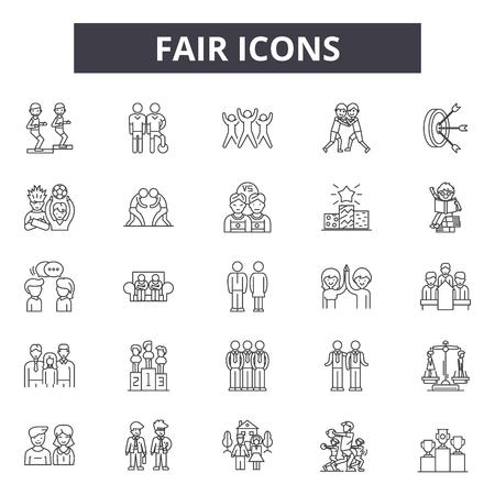 Faire Linie Symbole, Zeichensatz, Vektor. Faire Umrisskonzeptillustration: fair, Konzept, Geschäft, Silhouette, schwarz