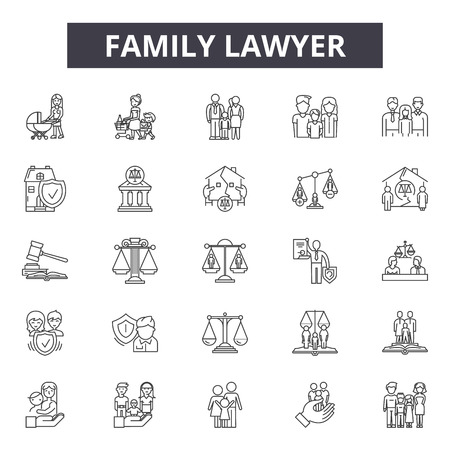 Family lawyer line icons, signs set, vector. Family lawyer outline concept, illustration: lawyer,family,law,court,business,legal,concept