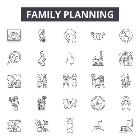 Family planning line icons, signs set, vector. Family planning outline concept illustration: family,planning,people,life,woman