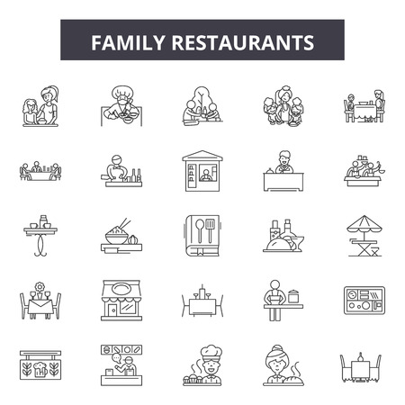 Family restaurants line icons, signs set, vector. Family restaurants outline concept illustration: restaurant,family,food,people,business