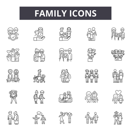 Family line icons, signs set, vector. Family outline concept illustration: father,mother,people,child,woman,together,family