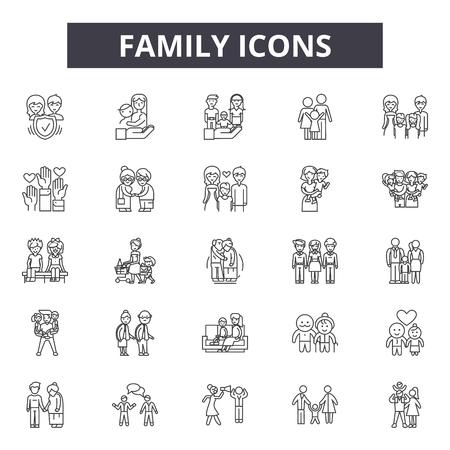 Icone della linea familiare, set di segni, vettore. Illustrazione del concetto di struttura familiare: padre, madre, persone, bambino, donna, insieme, famiglia