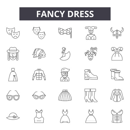 Fancy dress line icons, signs set, vector. Fancy dress outline concept illustration: costume,isolated,dress,fancy,hat,cartoon Illustration