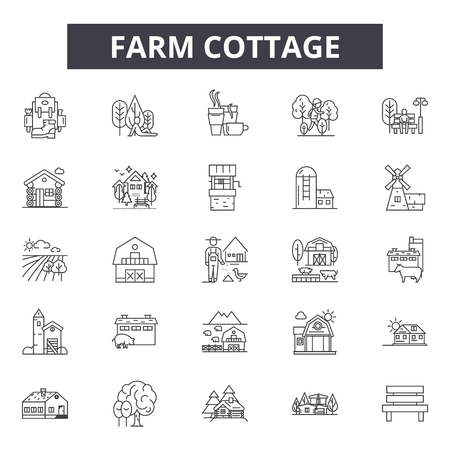 Farm cottage line icons, signs set, vector. Farm cottage outline concept illustration: farm,cottage,house,building,dehome,architecture Illusztráció