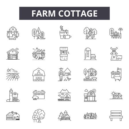 Iconos de línea de cabaña de granja, conjunto de signos, vector. Ilustración del concepto de esquema de cabaña de granja: granja, cabaña, casa, edificio, deshome, arquitectura