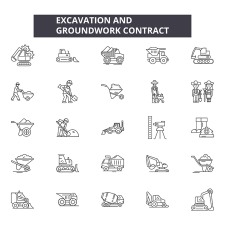 Excavation and grounwork line icons, signs set, vector. Excavation and grounwork outline concept illustration: industry,industrial,heavy,work,isolated,digger,metal Stock Illustratie