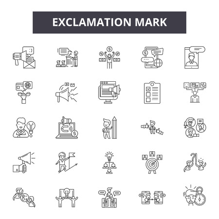 Exclamation mark line icons, signs set, vector. Exclamation mark outline concept illustration: exclamation,mark,danger,attention,hazard,caution,risk Illustration