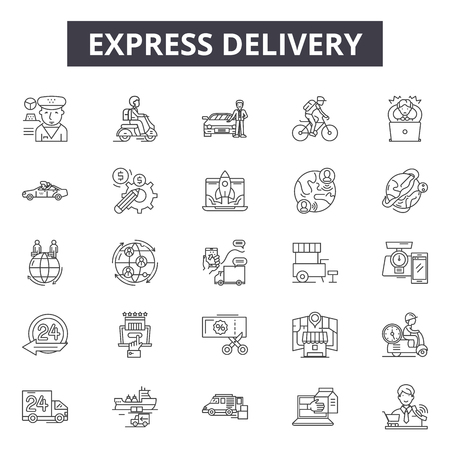 Express delivery line icons, signs set, vector. Express delivery outline concept illustration: delivery,express,fast,service,business,speed,shipping,transport