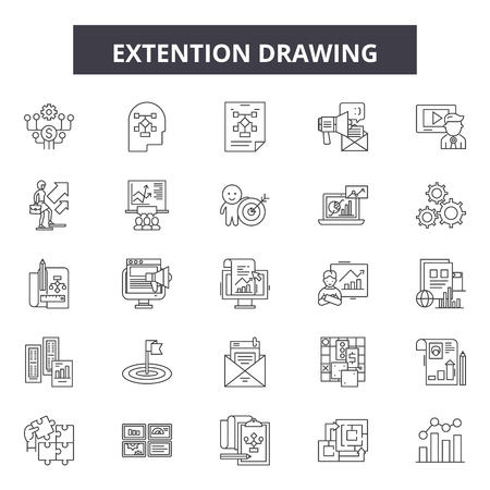 Extention drawing line icons, signs set, vector. Extention drawing outline concept illustration: demeasurement,drawing,length,tool,ruler,extent Фото со стока - 120895622