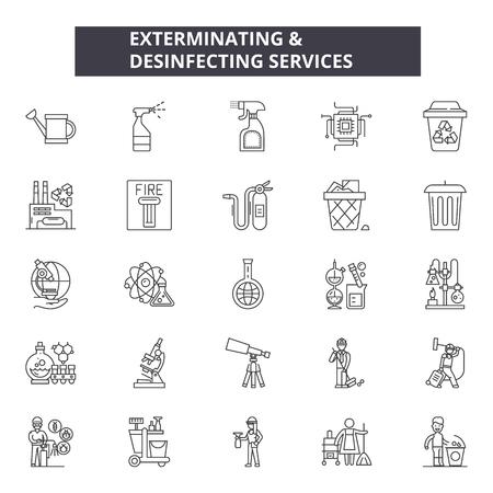 Exterminar y desinfectar los iconos de la línea de servicios, conjunto de signos, vector. Exterminación y desinfección de servicios ilustración del concepto de esquema: plagas, desinfección, servicio, control, insectos, aislados, desymbol