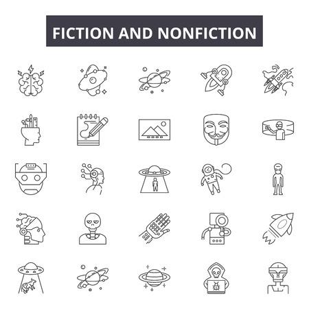 Fictioin and nonfiction line icons, signs set, vector. Fictioin and nonfiction outline concept illustration: nonfiction,fiction,novel,delibrary,education