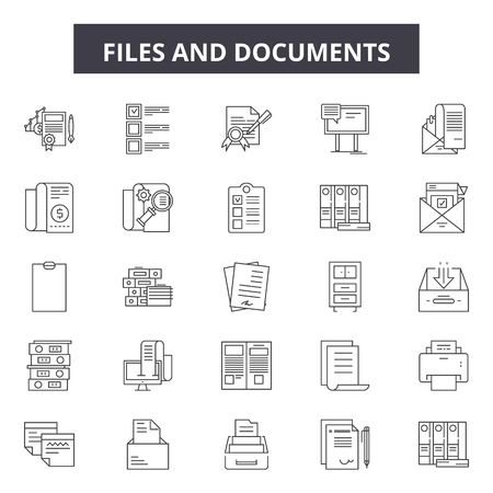 Files and documents line icons, signs set, vector. Files and documents outline concept illustration: file,document,paper,page,web,business