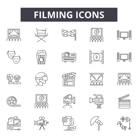 Filming line icons, signs set, vector. Filming outline concept illustration: film,video,movie,cinema,entertainment,isolated