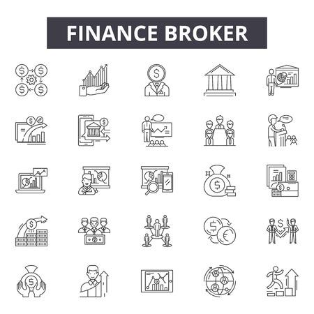 Finance broker line icons, signs set, vector. Finance broker outline concept illustration: broker,finance,money,business,investment,trade