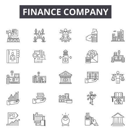 Finance company line icons, signs set, vector. Finance company outline concept illustration: finance,business,company,office,chart,deconcept Vectores