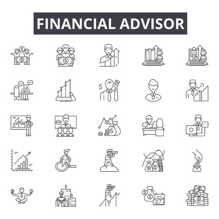 Financial advisor line icons, signs set, vector. Financial advisor outline concept illustration: financial,advisor,business,investment,finance,money,businessman