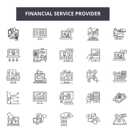 Financial service provider line icons, signs set, vector. Financial service provider outline concept illustration: financial,payment,concept,money,business,finance,time,cash