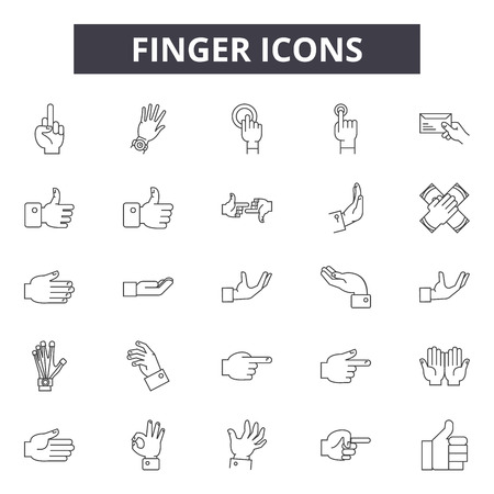 Finger line icons, signs set, vector. Finger outline concept illustration: hand,finger,isolated,click,pointer