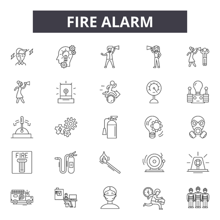 Fire alarm line icons, signs set, vector. Fire alarm outline concept illustration: fire,alarm,safety,danger,security 矢量图像