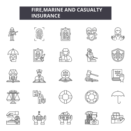 Fire marine and casualty insurance line icons, signs set, vector. Fire marine and casualty insurance outline concept illustration: Top 49 Keywords:,plane,real estate,car policy,coverage,factory,set