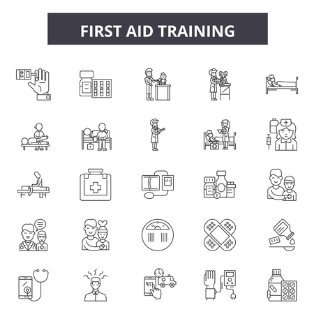 First aid training line icons, signs set, vector. First aid training outline concept illustration: first,aid,medical,resuscitation,health,training,emergency,cpr,heart,help Banque d'images - 120765664