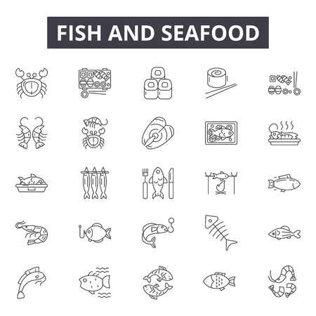 Fish and seafood line icons, signs set, vector. Fish and seafood outline concept illustration: seafood,food,fish,restaurant,sea