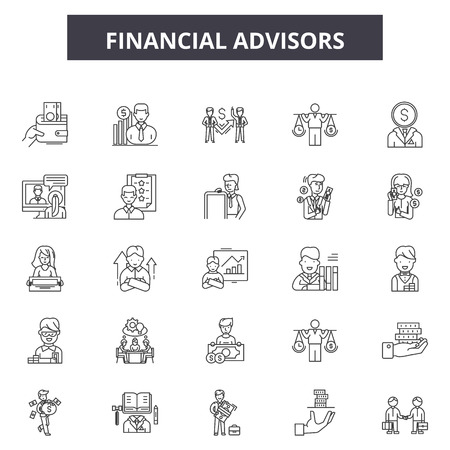 Financial advisors line icons, signs set, vector. Financial advisors outline concept illustration: financial,advisor,business,investment,finance,money,businessman