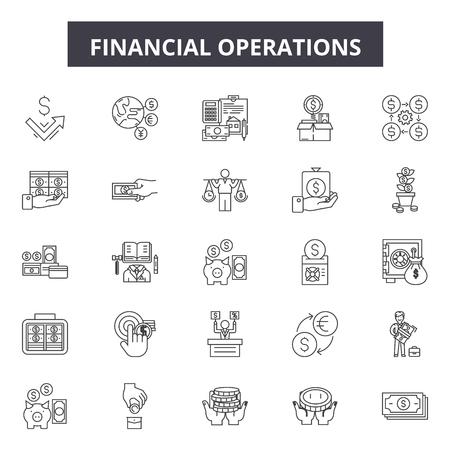 Iconos de línea de operaciones financieras, conjunto de signos, vector. Ilustración de concepto de esquema de operaciones financieras: negocios, finanzas, banca, dinero, concepto, inversión, engranaje, símbolo