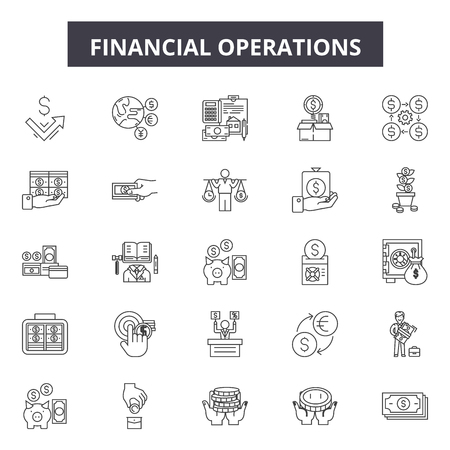 Financial operations line icons, signs set, vector. Financial operations outline concept illustration: business,financial,banking,money,concept,investment,gear,symbol Illustration