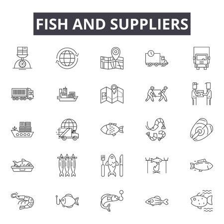 Fish and suppliers line icons, signs set, vector. Fish and suppliers outline concept illustration: fish,nature,food,pet,cat,dog 일러스트