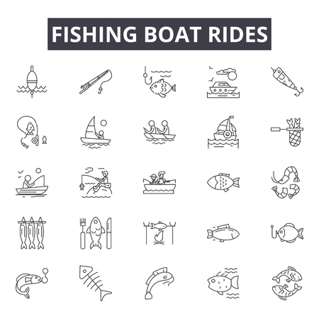Fishing boat rides line icons, signs set, vector. Fishing boat rides outline concept illustration: boat,fishing,travel,vacation,ship,ride