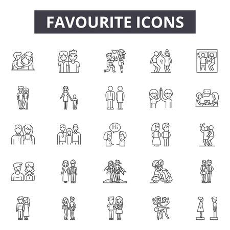 Favourite line icons, signs set, vector. Favourite outline concept illustration: favourite,button,web,website,best,like Illustration