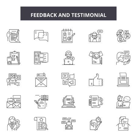 Feedback getuigenis lijn iconen, borden set, vector. Feedback testimonial schets concept illustratie: feedback, mening, opmerking, bedrijf, web, concept, symbool Vector Illustratie