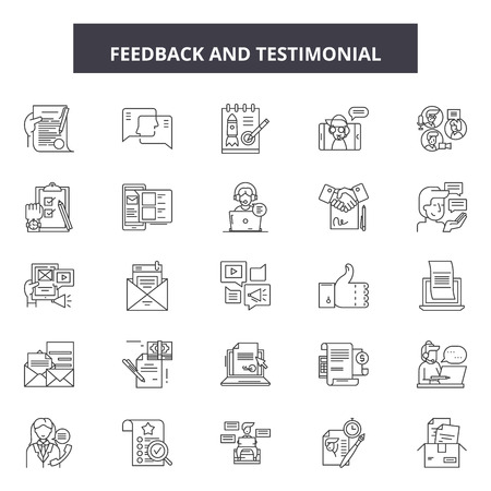 Feedback testimonial line icons, signs set, vector. Feedback testimonial outline concept illustration: feedback,opinion,comment,business,web,concept,symbol