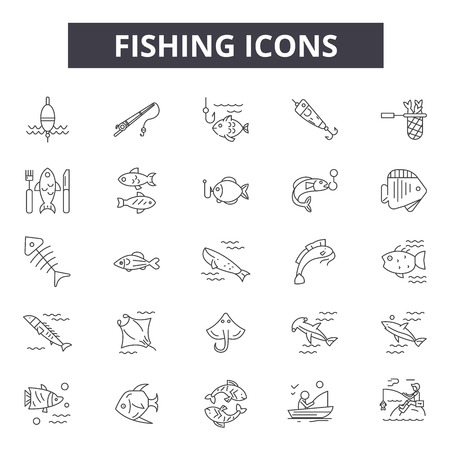 Fishing line icons, signs set, vector. Fishing outline concept illustration: fishing,nature,fish,water,boat,rod,catch