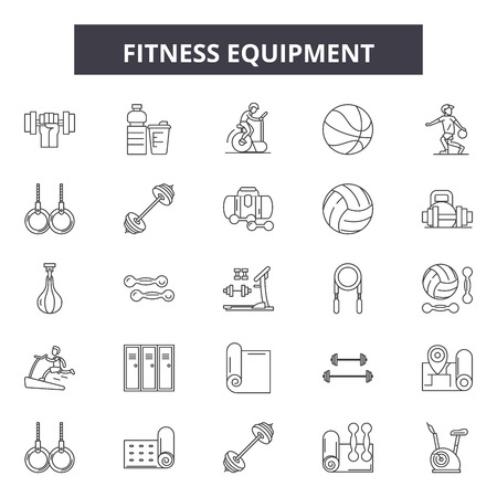Fitness equipment line icons, signs set, vector. Fitness equipment outline concept illustration: equipment,fitness,gym,exercise,sport,health,workout,healthy