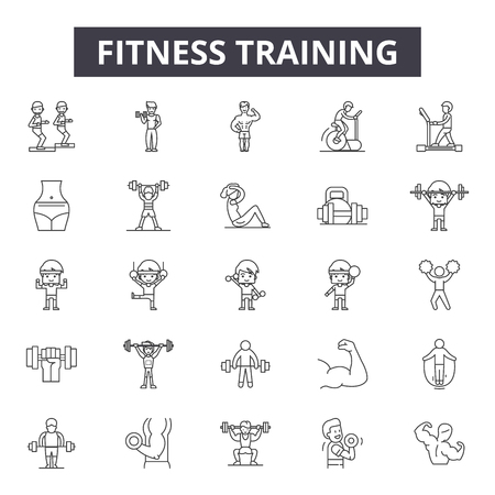 Fitness training line icons, signs set, vector. Fitness training outline concept illustration: gym,fitness,training,sport,weight,healthy,exercise,symbol